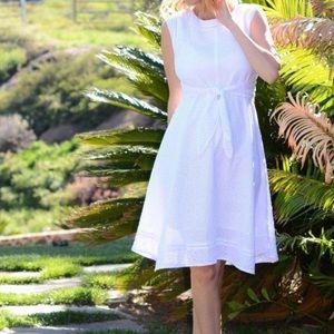 EUC CAbi Lizzie eyelet cotton tie waist dress